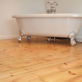 Restored bathroom flooring